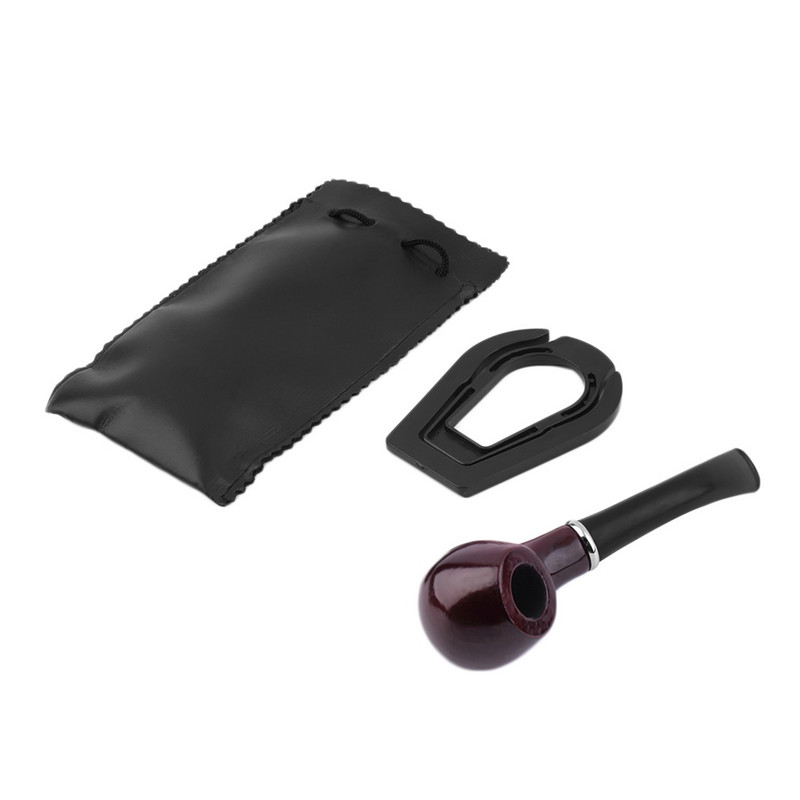 New 1x Durable Wooden Tobacco Pipe + Smoking Pipe Stand + Cigar Cigarette Smoking Pipe Leather Case cover