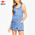 Women fashion dress sleeveless pocketed denim mini dress