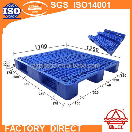 anti skid plastic pallet ZJ1211-150 rib type three skids feet