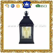 Black plastic led candle holder lantern