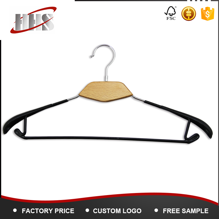 China supplier pvc wooden hanger rubber coat/clothes hanger with hooks