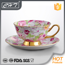 Popular flower design bone china tea cup and saucer grace tea ware porcelain with gold rim