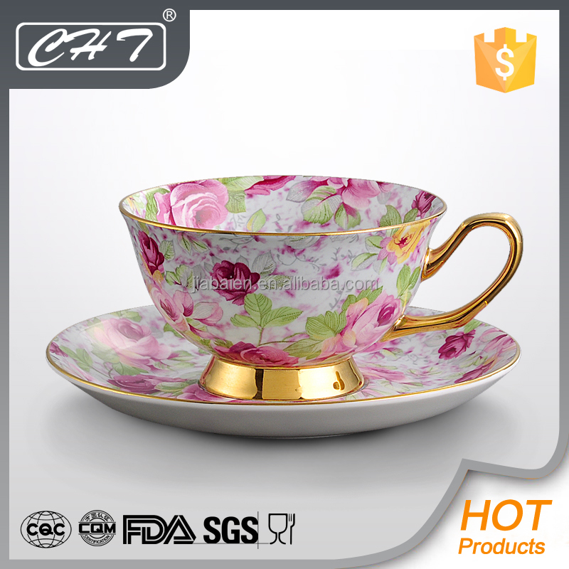 Popular flower design ceramic large gold rim tea cup and saucer