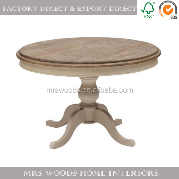french antique style reclaimed solid wood round dining table, 4 small legs round wood table
