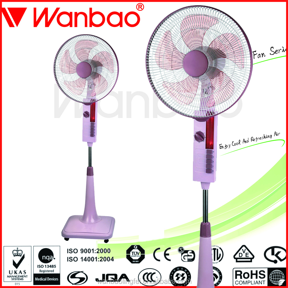 Hot selling square base with wheel ABS 16 inch stand fan with light lamp