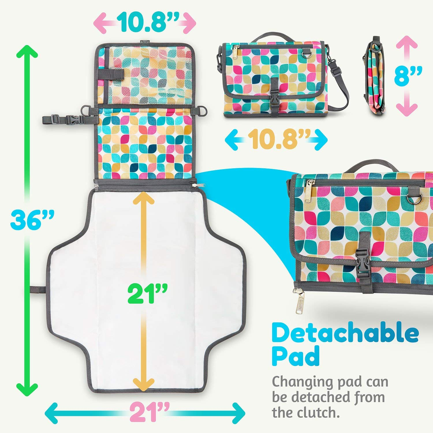 Diaper Bag Organizer for Storage Baby Diapers with Waterproof Diaper Changing Pad and Strap