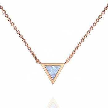 MECYLIFE Geometrical Triangle Minimalist Charm Pendant Gold Plated Round Created Opal Necklace