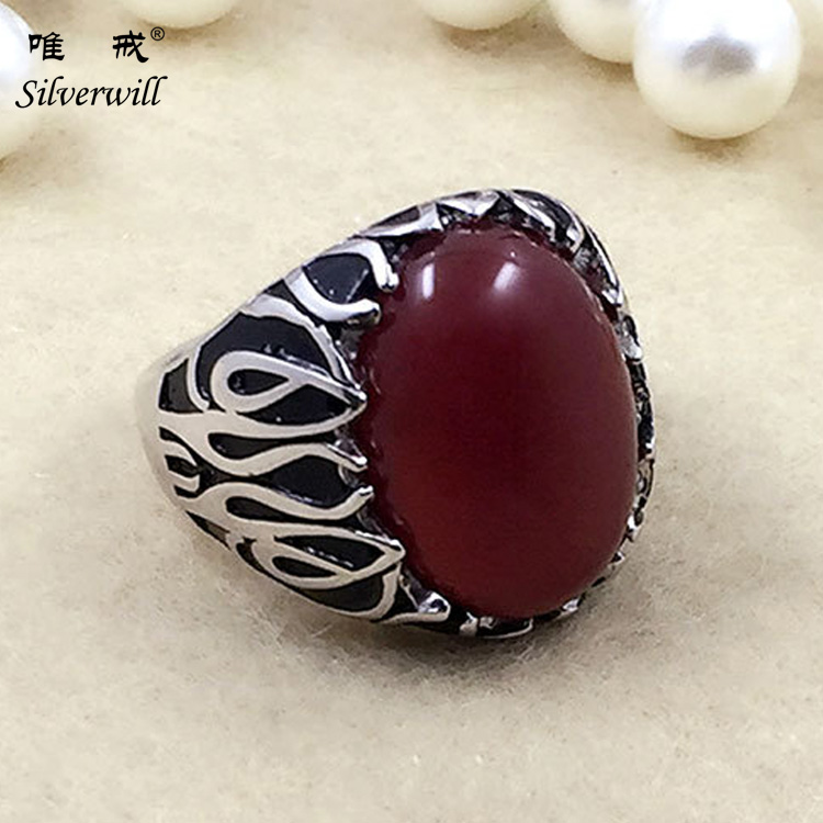 Red agate thai silver ring yemeni aqeeq men ring silver with agate