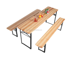CXZD17030 3 PCS Beer Table Bench Set Folding Wooden Top Picnic Table