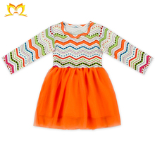 Kids Long Sleeves Colorful Chevron Tulle Princess Fancy Dress For Baby Girl