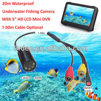 20m Waterproof Underwater Fish Camera+5-Inch HD Mini DVR(1-50m cable optional,8 LED or IR lights,motion detection, loop record)