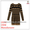 China supplier Women Woven Garment Factory ladies' striped knitted christmas sweater dress with long sleeves