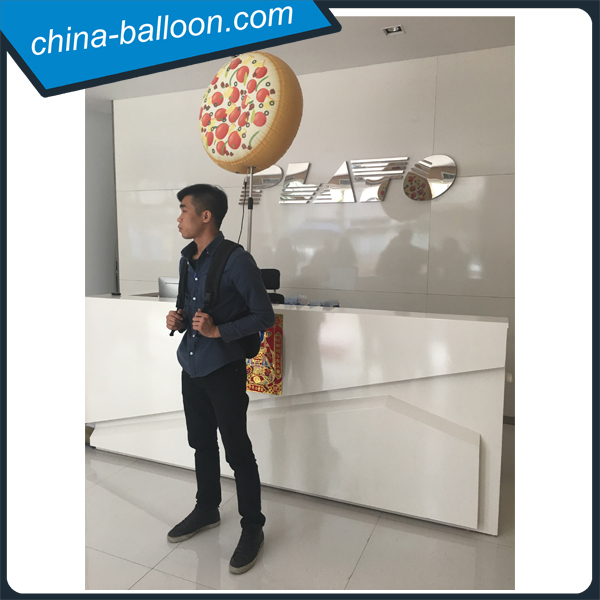 LED lighting inflatable pizza shaped backpack balloons for restaurant advertising