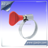 stainless steel band germany type hose clamps with plastic and metal handle/pipe hose clamp