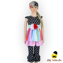 children frocks designs sleeveless summer black clothing set girls boutique rainbow color dress outfit