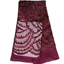 2016 hotest burgundy african lace fabrics sequined lace wedding dresses fabric HY0372