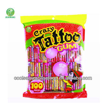 100pcs crazy tattoo bubble gum