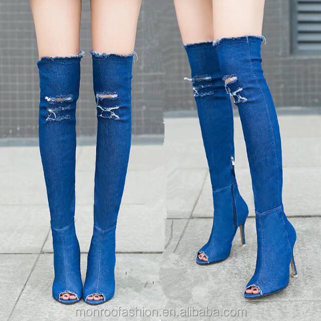 monroo New style stilettos Over the knee boots sandals boots elastic denim boots
