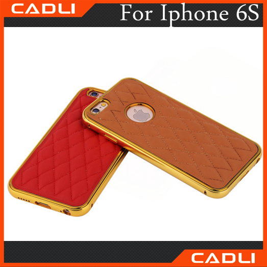For iPhone 6 Leather Back Case Cover+Luxury Metal Frame Bumper for iphone 6 4.7'case for iphone 6