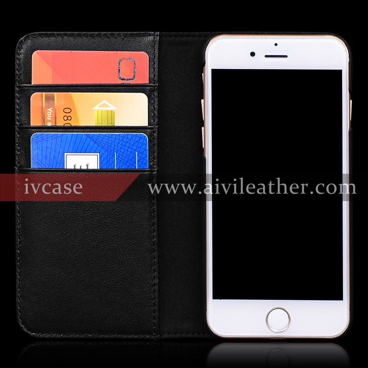 For Iphone 7 Genuine Leather Wallet Flip Stand Magnetic Closure Case Black Color
