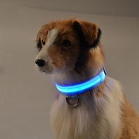 Safety Adjustable Pets Dog LED Flashing Night Light Nylon Collar USB Charging Rechargeable puppy Cat glowing necklace