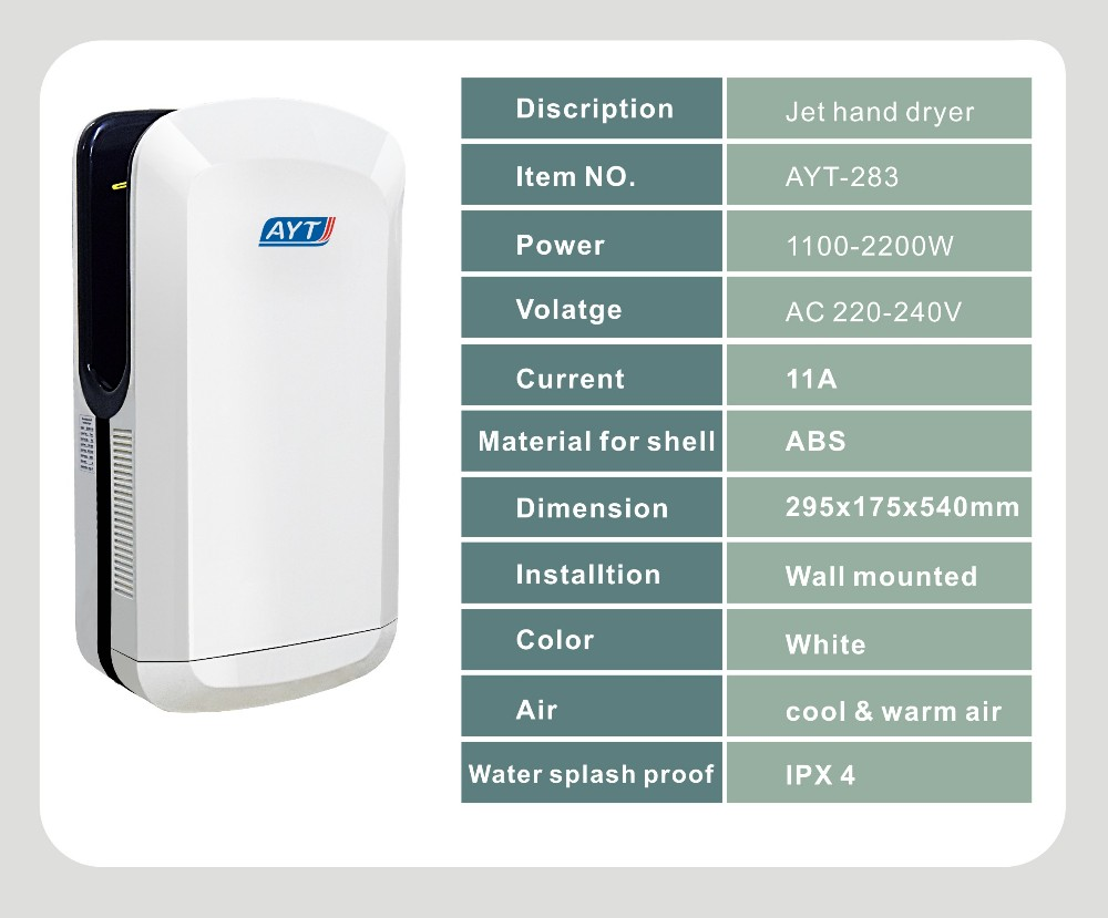 Slim jet hand dryer with warm and cool air