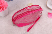 6.Candy colour Transparent Soft PVC Waterproof Cosmetic Bag Wash Bag in Pink