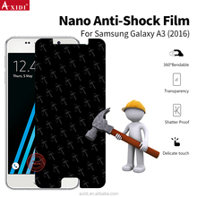 Hammer anti shock screen film , clear nano anti broken dark screen protector for Samsung A3 2016