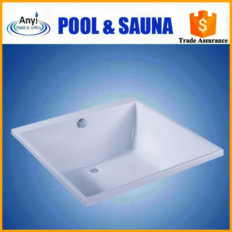 high quality small classic design indoor drop in square shape acrylic spa hot bathtub