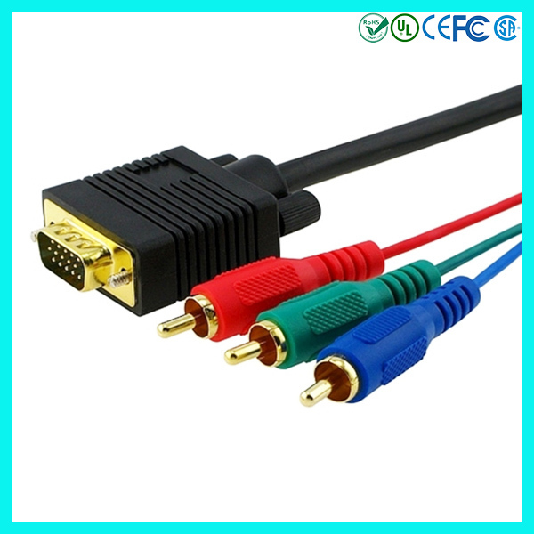 6 ft / 1.8m Male to Male VGA to RCA Converter Cable VGA to3 RCA Component RGB for TV Monitor Projector