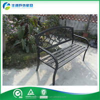 Powder coated black cast aluminum metal outdoor park bench with backs