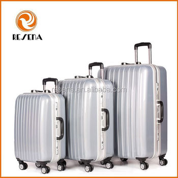 Aluminum Frame ABS+PC hard shell 3 piece best travel luggage set sale