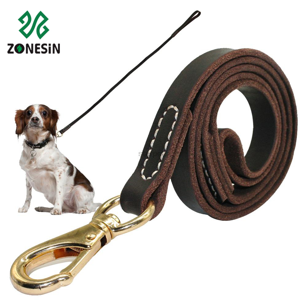 Top Sale Fashion Genuine Leather Pet Leash Strap for Dog Walking with Metal Hook