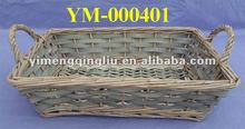 rectangular wicker tray with handles