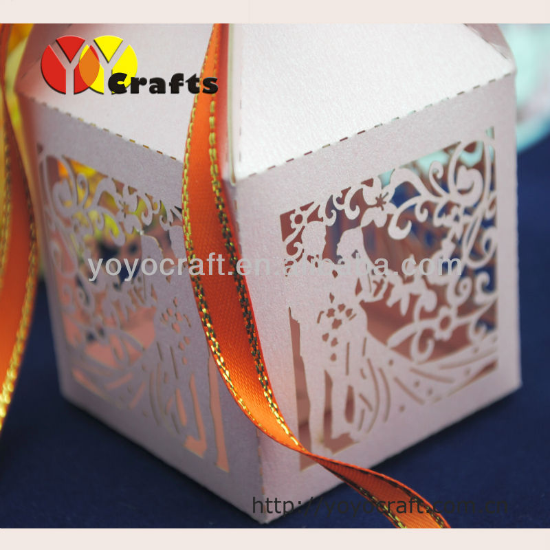 Laser cut wedding favors and gifts bride groom candy box metallic paper