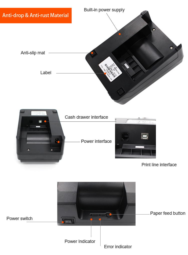 Barcode Printer Label Thermal  Thermal recepit printer for POS SYSTEM