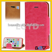 Latest design Crazy Horse Texture Horizontal Flip Leather + TPU Case with Credit Card Slot & Holder for iPhone 5C (Magenta)