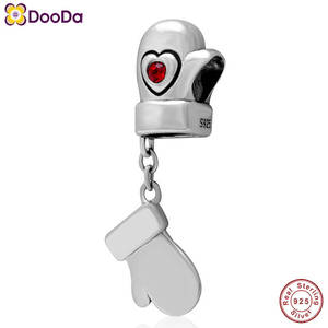 Dooda Jewelry 925 Sterling Silver Heart Gloves Charm Beads with Crystal Stone Fit European Valentines Day Bracelet
