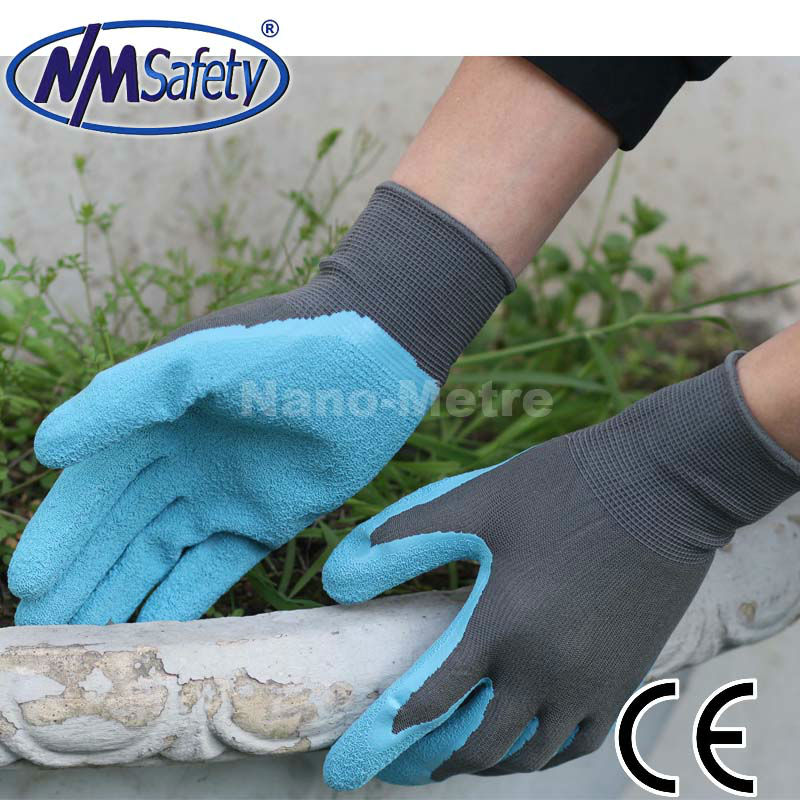 NMSAFETY 13 guage nylon or polyester liner coated latex garden working glove mma glove