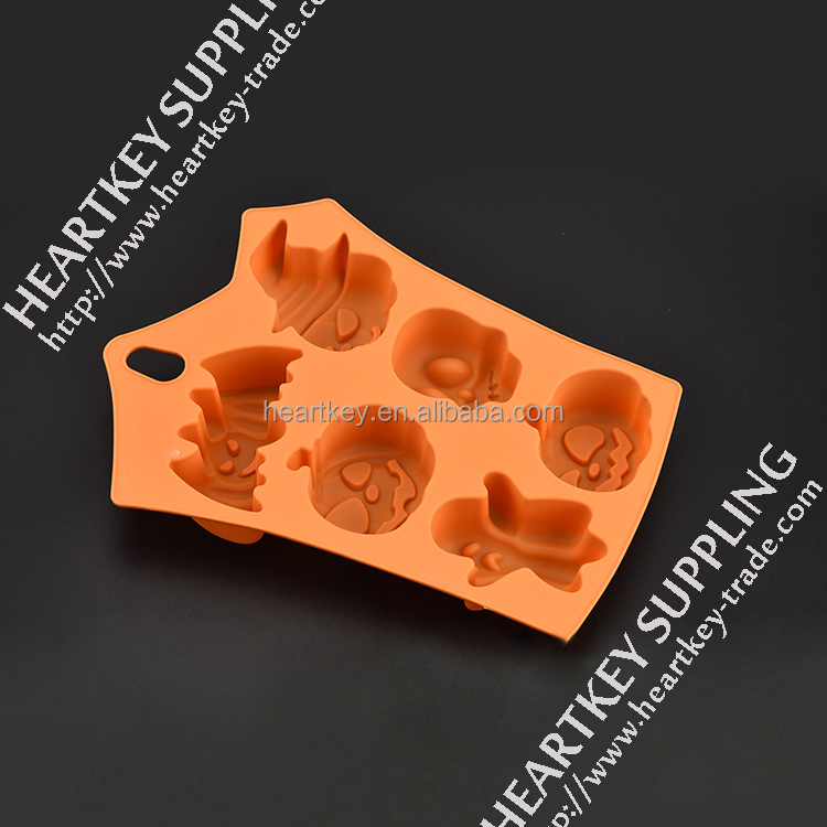 Halloween Pumpkin Silicone Candy Mold, Pumpkins Skulls Crossbones Ghosts Shape Silicone Candy Baking Mold For Halloween