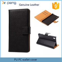 2017 hot items Genuine Leather wallet phone cover flip case for sony xperia m2 dual