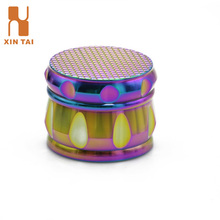 Rainbow Color New Drum Design 4 Parts Metal Tobacco Grinder With Grid Pattern Top
