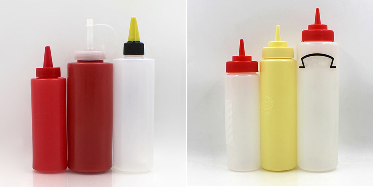 Food grade LDPE 750ml soft squeeze condiment ketchup packaging salad dressing plastic bottle