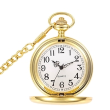New Gold Mirror Case Pedant necklace Mens Analog Quartz gold Pocket Watch with Chain