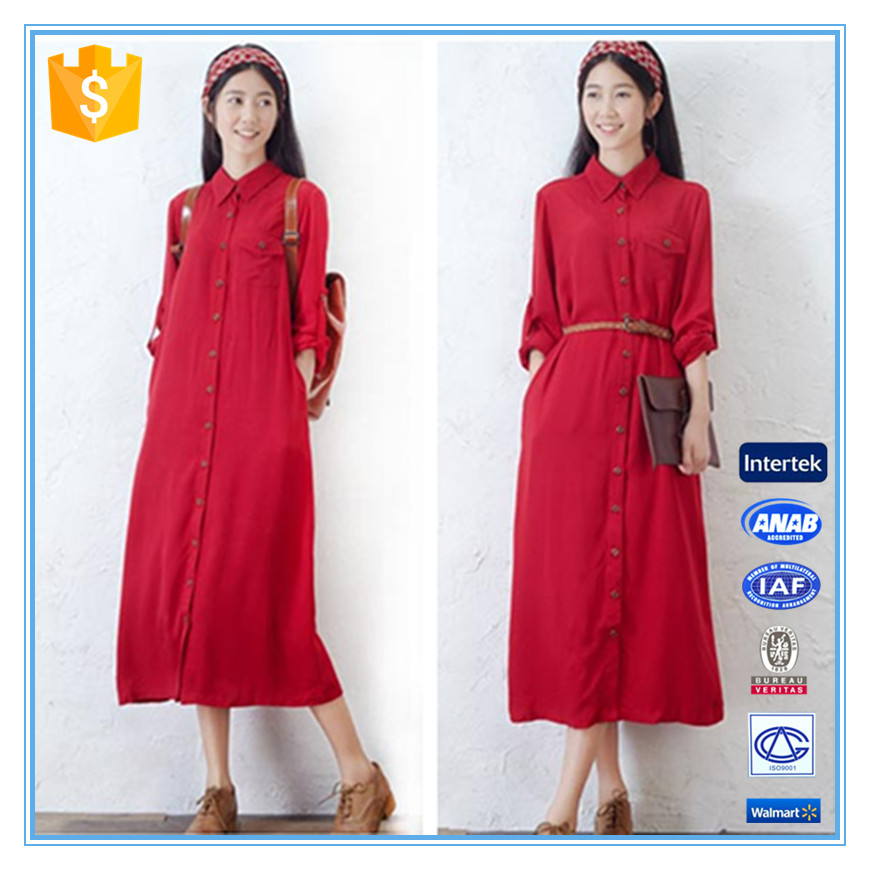 2016 Spring Women Retro Style Red Long Open New Shirt Dress Designs