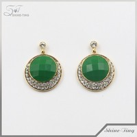China suppliers gold jewellery for wholesale rhinestone diamond green gemstone earrings
