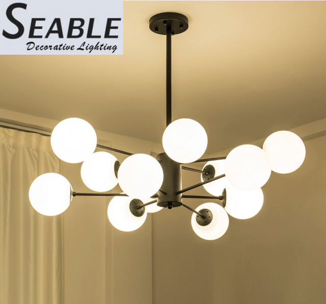 Modern style milk white glass ball led chandelier light for living room