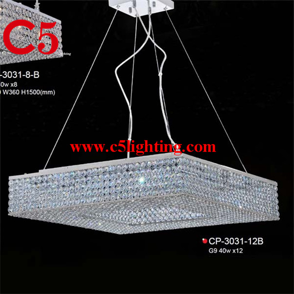 Square Crystal Cover Led Solar System Chandelier