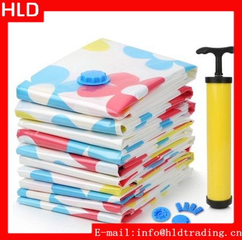 Factory Price Flower Pattern Vacuum Seal Storage Bags With Pump