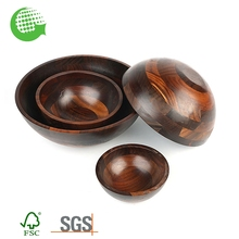 Custom Carbonized Wood Natural Qualy Salad Bowl Wholesale
